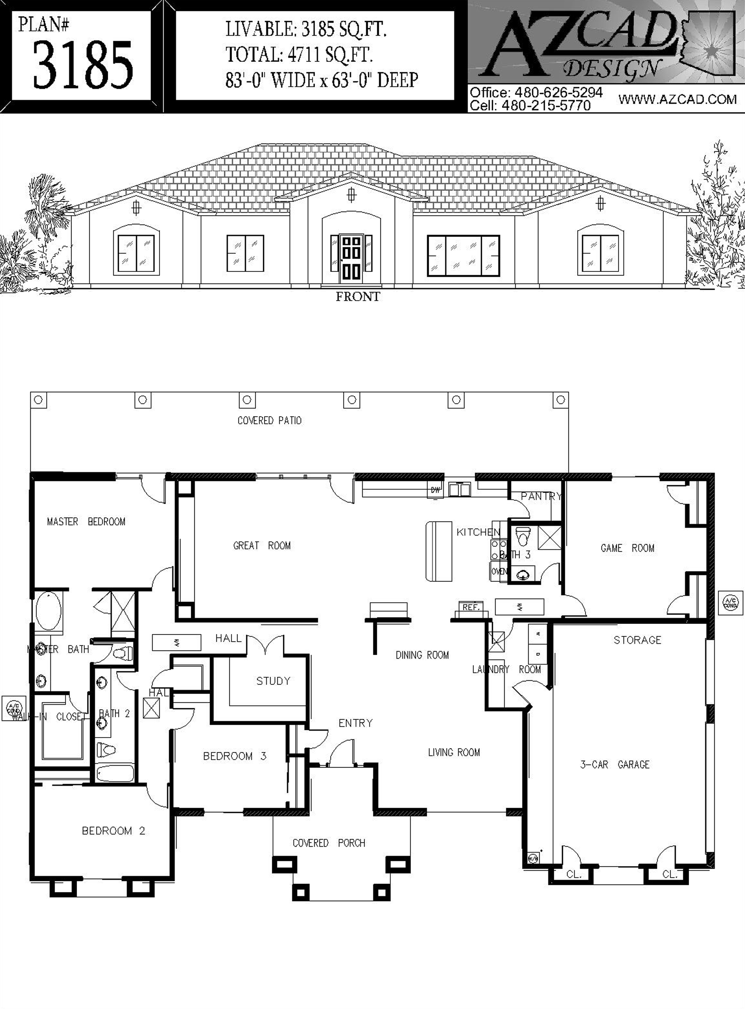 Drafting arizona house plans floor plans for Arizona house plans